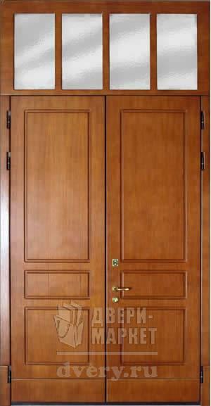 входная двустворчатая дверь с фрамугой